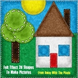 2d Shapes Felt Effect Images Clip Art for Teachers