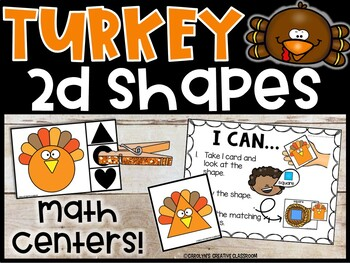 2d Shapes Math Center | Math Thanksgiving Turkey Center | 2D Shapes