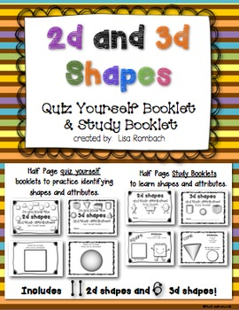 2d and 3d Shapes Quiz Yourself and Study Booklets