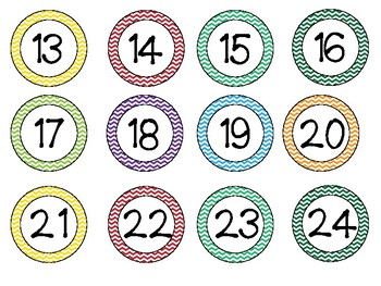 2inch Circle Numbers 1-24