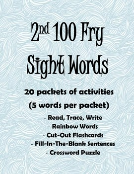 2nd 100 Fry Sight Words Activity Packets