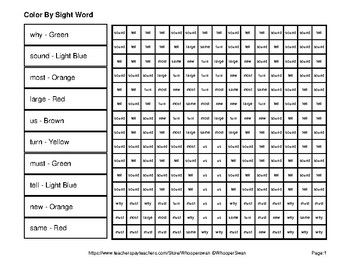 2nd 100 Fry Words: Color by Sight Word - Autumn (Fall) Mystery Pictures