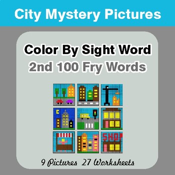 2nd 100 Fry Words: Color by Sight Word - City Mystery Pictures