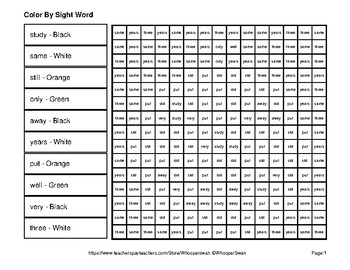 2nd 100 Fry Words: Color by Sight Word - Halloween Mystery Pictures