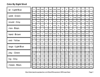 2nd 100 Fry Words: Color by Sight Word - Middle Ages Mystery Pictures