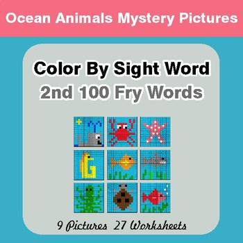 2nd 100 Fry Words: Color by Sight Word - Ocean Animals Mystery Pictures
