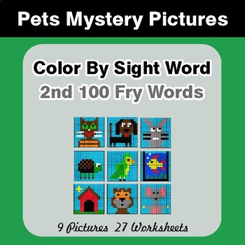 2nd 100 Fry Words: Color by Sight Word - Pets Mystery Pictures