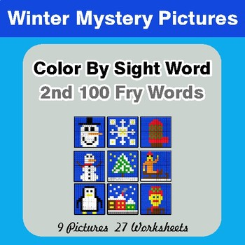 2nd 100 Fry Words: Color by Sight Word - Winter Mystery Pictures