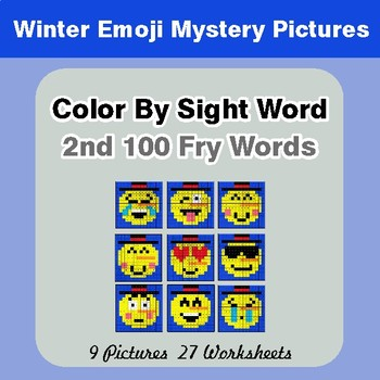 2nd 100 Fry Words: Color by Sight Word - Winter Snowman Emoji Mystery Pictures