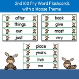 2nd 100 Fry Words Flash Cards Moose Theme