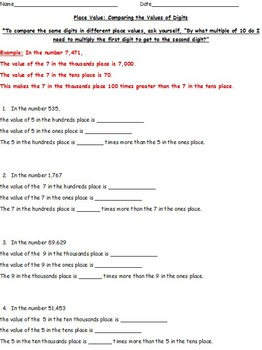 Differentiated Place Value Work - Identifying Values of Digits, Expanded Form