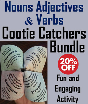 Nouns Verbs Adjectives Activities Bundle 2nd 3rd 4th Grade