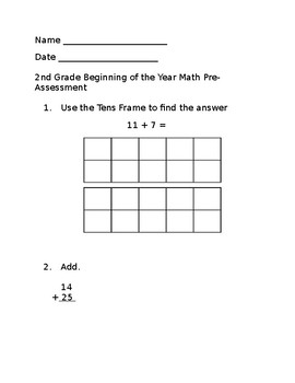 2nd & 3rd Grade Beginning of the Year Math Pre-Assessment w/Answer Key[Editable]