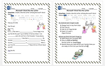 2nd 3rd Grade Create a Pen-Pal Letter Microsoft Word Windows 8/8.1