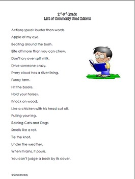 2nd & 3rd Grade Figurative Language Idioms Tiered Differentiated Lessons