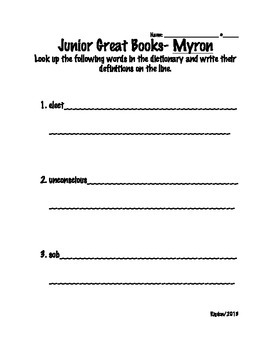 2nd/3rd Grade Junior Great Books- Starting off Strong- MYRON