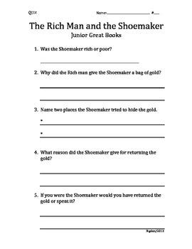 2nd/3rd Grade Junior Great Books- Starting off Strong- RICH MAN & SHOEMAKER