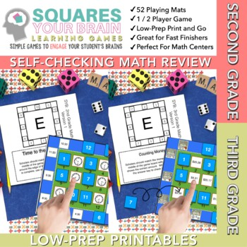 Math Review Games -- Squares Your Brain™ BUNDLE Second/Third Grade
