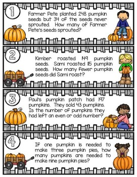 2nd & 3rd Grade Problem Solving: Pumpkin Edition