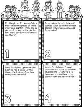2nd & 3rd Grade Problem Solving: Thanksgiving Edition