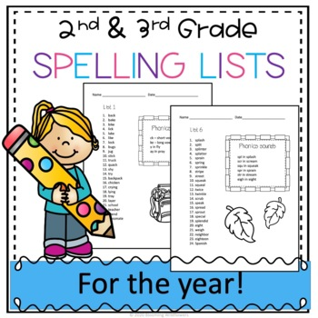 2nd 3rd Grade Spelling Lists for the Year ABEKA Phonics aligned