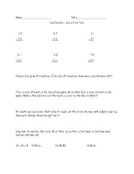 2nd/3rd Grade Subtraction Test TEKS 2.4A, 2.4B, 2.4C