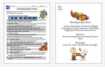 2nd & 3rd Grade Thanksgiving Menu Microsoft Word Typing Activity Windows 8/8.1