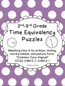 2nd - 3rd Grade Time Equivalency Puzzles