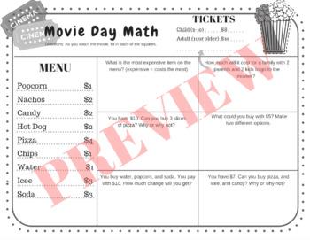 2nd & 3rd Movie Day Math-- No Prep