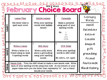 2nd-4th Spelling Choice Board (February)
