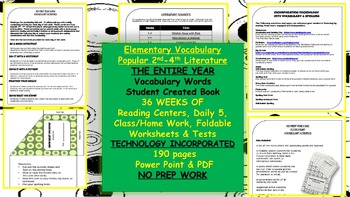 2nd-4th Vocabulary, Power Point, Center Work, HW, Test's, Word list, ENTIRE YEAR