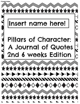 2nd 6 weeks-Pillar of Character: A Journal of Quotes (Digital/Printable)