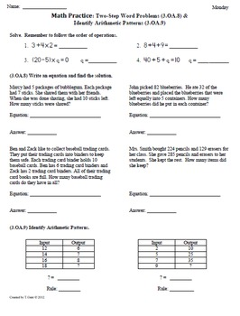 (2nd 9 Weeks) 3rd Grade Common Core Math Worksheets [BUNDLED]