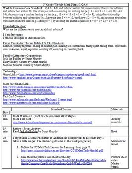 (2nd 9 Weeks) Lesson Plans for 1st Grade Math Common Core