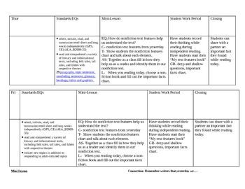 2nd 9 weeks reading lesson plans