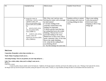 2nd 9 weeks writing lesson plans