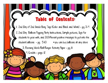2nd Day of 2nd Grade Activity Packet