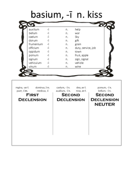 2nd Declension Neuter Activity Packet