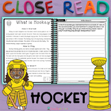 2nd GRADE Close Reading Passages and Questions Main Topic and Key Details HOCKEY