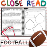 2nd GRADE Close Reading Passages & Questions Main Topic and Key Details FOOTBALL