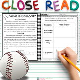 2nd GRADE Close Reading Passages and Questions Main Topic and Key Details SPORTS