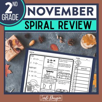 Second Grade Math Homework or 2nd Grade Morning Work for NOVEMBER