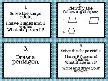 2nd Grade Geometry Task Cards