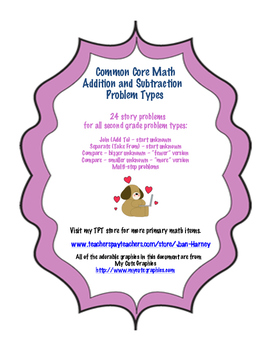 2nd Gr. Story Problem Solving Cards - Addition and Subtraction Problem Types