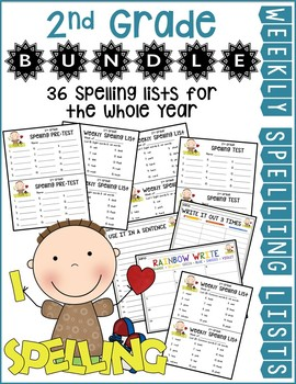 2nd Gr Weekly Spelling Lists Bundle for the Whole Year (Lists 1-36)