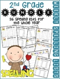 2nd Gr Weekly Spelling Lists Bundle for the Whole Year (Li