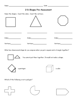 2nd Grade 2-D Shapes Pre-Assessment