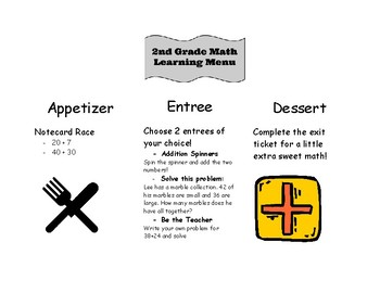 2nd Grade 2 Digit Addition Learning Menu