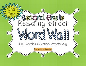 2nd Grade 2013 Reading Street Word Wall Cards - Unit One