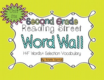 2nd Grade 2013 Reading Street Word Wall Cards - Unit Six